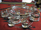 Dorothy Thorpe Style Silver Punch Bowl Barware Set Roly Poly Cups