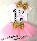 First 1st 7th Birthday Girl Tutu Outfit Light Pink Minnie Mouse Gold Headband