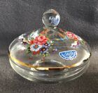 Vintage SILVER CITY GLASS CO Flowered Candy Dish with Lid Gold Trim Roses