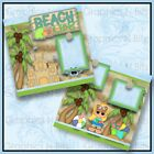 12 x 12 Printed Premade Scrapbook 2 Page Layouts BEACH LIFE