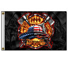 Hot Leathers American Firefighter Patriotic Polyester 3 x 5 Flag
