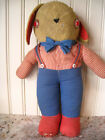 Old Antique Vintage Folk Art Patriotic Stuffed Toy Bunny Rabbit Doll Nice