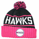 Atlanta Hawks Mitchell and Ness Pink and Black Pom Cuff Beanie