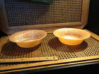 LOT 2 VINTAGE ANCHOR HOCKING FIRE KING ORANGE LUSTER SWIRL PATTERN SERVING BOWL