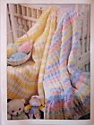 Two Baby Blanket Afghan Crochet PATTERNS Waffle  Pastel Stripes by Leisure Arts