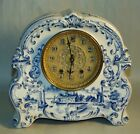 ANTIQUE Clock WATERBURY Parlor Clock DELFT Porcelain