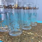 Vintage Midcentury Federal Glass Tumblers Gold And Blue Aqua set of 6 Drinking
