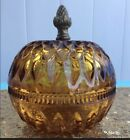 Vintage Round Amber Depression Glass Jar Trinket With Brass Pineapple Handle
