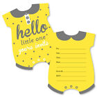 Hello Little One Yellow  Gray Shaped Fill In Invite Baby Shower Invite 12 Ct