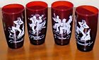 4 Ruby Red Square Dance Caller 10 oz Tumblers Glasses Lot Hoe Down Partners All