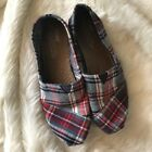 TOMS Womens 8 Red Blue Plaid Flannel Cozy Slip On Shoes