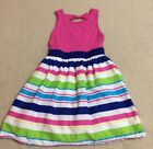 CHILDRENS PLACE GIRLS PINK W MULTI COLORED STRIPES DRESS SIZE 7 8 GC