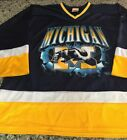 Michigan Wolverines Hockey Jersey Blue Yellow Mens Large L