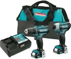 Cordless 3/8 Drill Impact Driver Combo Kit Power Tool Lithium-Ion 12-Volt New