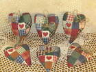 6 Country red patchwork fabric handmade hearts bowl fillers Farmhouse Home Decor