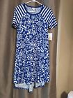 LulaRoe XS Carly Dress Cobalt blue and white floral w striped sleeves NWT