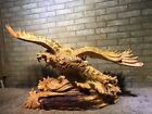 19'' Natural Thuja sutchuenensis wood carved birds eagle Hwak statue