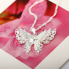 3 Layer Butterfly 925 Sterling Silver Plated Necklace Cute Animal Jewelry