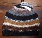 NWT Steve Madden Beanie Hat Striped Black Brown Gray Knit Textured Hobo Hat