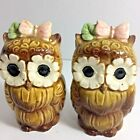 Kitschy Owl Salt Pepper Shakers Ceramic Flower Eyes Pink Butterflies H198