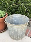 Vintage Large Galvanized Ribbed Bucket/Pail - Garbage Can Style