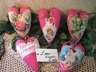 Set of 5 Vintage-looking handmade pink fabric Valentine hearts Home Decor