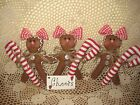 3 Handmade fabric Country Christmas Gingerbread candy canes ornaments Home Decor