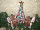 Handmade Christmas patchwork fabric tree gingerbread candy canes bowl fillers