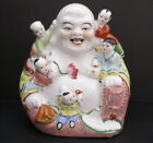 Antique Chinese Republic Period Famille Rose Buddha with 5 Children Statue 8