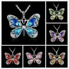 Women Rhinestone Crystal Butterfly Pendant Necklace Sweater Silver Chain Gift