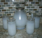 5 Piece Blendo West Virginia Glass Pitcher and Glasses-Frosted White with Gold