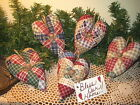 5 Country patchwork fabric hearts Bowl Fillers Wreath-making Handmade Home Decor