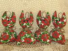 4 handmade red floral fabric cat ornaments wreath-making Christmas Home Decor