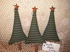Set of 3 handmade Christmas green ticking fabric Prim trees bowl fillers Decor