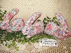 3 Handmade floral fabric bunny rabbits bowl fillers Cottage Easter Home Decor