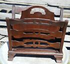Vintage antique solid 1940s BUTLER MAHOGANY wood magazine Rack stand style 734