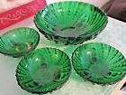 Anchor Hocking - 1-BURPLE FOOTED SERVING BOWL-3 IND. OYSTER PEARL FOREST GREEN