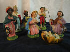 Vintage Italian Small Nativity Set 7 Pieces Hand Painted Pottery AS IS