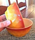 KIMBERLY 2 Vtg Anchor Hocking Fire King Brown Yellow Diamond Cereal Bowls Bx69