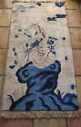 Vintage Oriental Chinese Asian Area Wool Hand Made Rug Bird Blue Ivory 28 x 54
