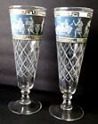 2 Vintage Mid Century Etruscan Frieze Cera Beer Pilsner Glasses Greek Key Greco