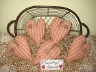 5 Prim Country homespun ticking fabric heart ornaments Bowl Fillers Home Decor