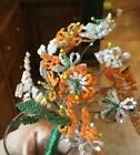 Vintage French Glass Seed Bead Beaded Flower Leaf Stem Bouquet Handmade