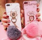 For iPhone X 7 8 Plus Cute Hello Kitty Soft Candy Case Cover Plush Ball Lanyard