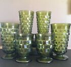Vintage 6 Indiana Glass Colony Whitehall Avocado Green Footed Ice Tea Tumblers