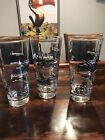 Lot of 8 MCM Libbey Glasses Train Steam Engines Libby Black Gold Leaf Retro 60's
