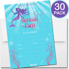 30 Mermaid Party Invitations with Envelopes Kid Birthday Girl Pool Swimming