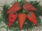 5 Primitive Strawberry bowl fillers cupboard tuck hanger ornie country folk art