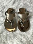 New with Box Women's BCBG Star Metallic Silver Thong Sandals Flip Flops Shoes 6M