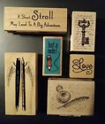 Lot of 6 Wood Mounted Rubber Craft Stamps Paper Crafts Scrap Booking NEW
